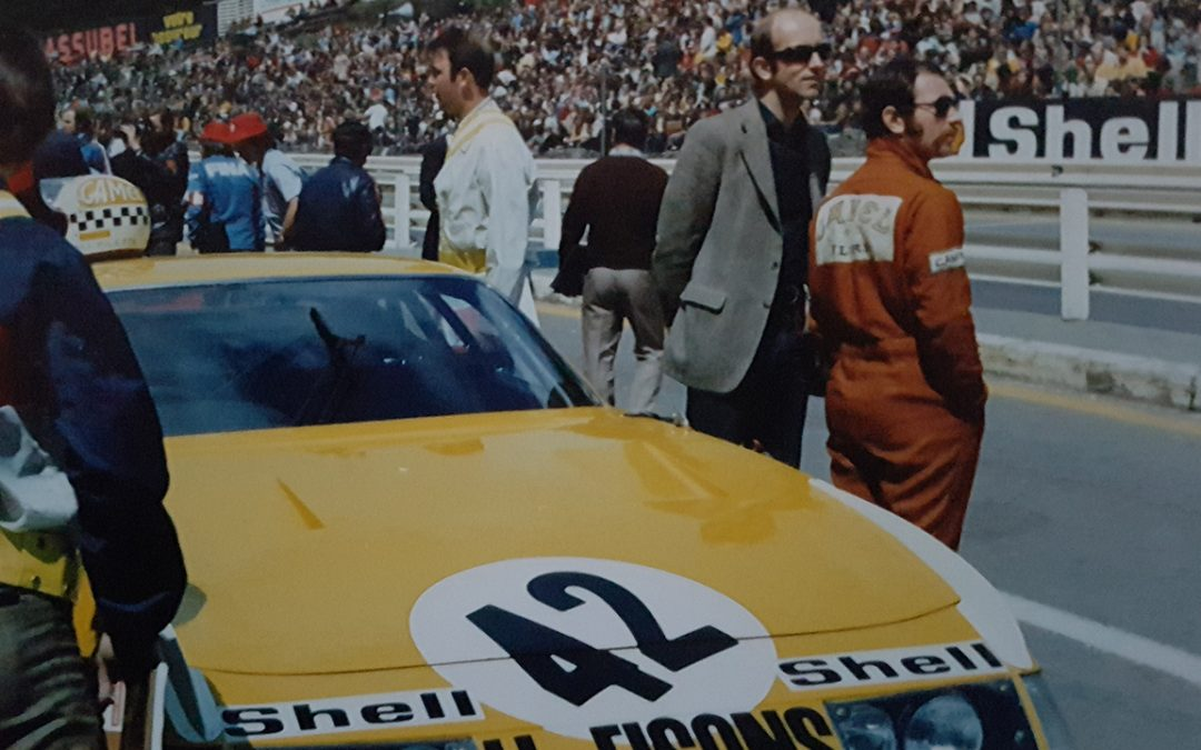 1973.05 – 1000Km de Spa, the Ferrari 365 GTB4 of the Ecurie Francorchamps with Teddy Pilette in his orange suit