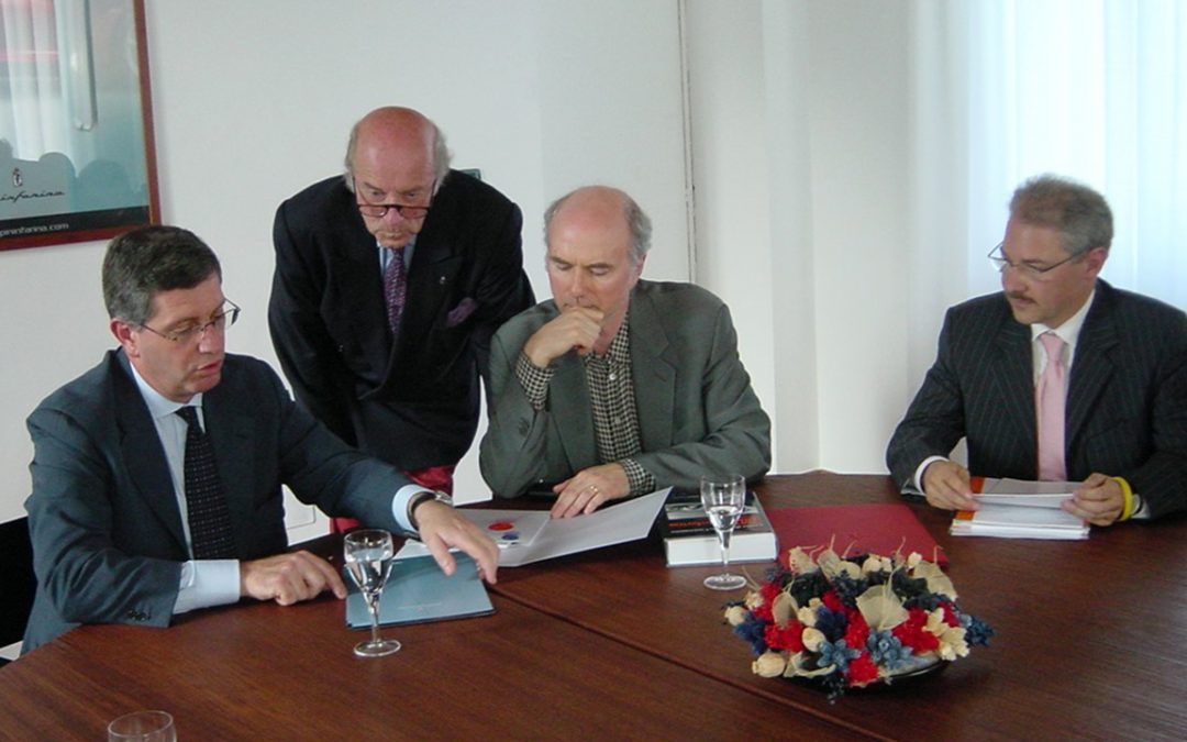 2005.06.06 - Signature at Pininfarina of the contract for the Ferrari P4/5 with Andrea Pininfarina, Jim Glickenhaus and Paolo Garella, the responsible for special projects