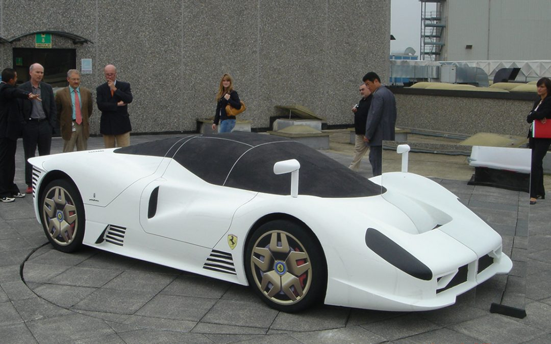 2005.09.08 - Full-scale model in polystyrene of P4/5 on the roofs of Pininfarina in Cambiano