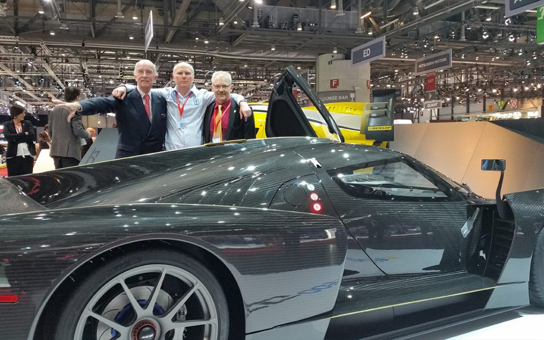 2015.03.03 - Jim Glickenhaus (in the middle) launched his superb SCG at the 2015 Salon de l'Auto in Geneva in the presence of Paolo Garella (left) who supervised the engineering