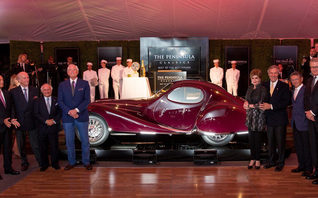 2016.08.16 - Merle and Peter Mullin's extraordinary 1937 Talbot-Lago T150-C SS coupe aérodynamique by Figoni and Falaschi, deserving winner of the first Peninsula Classics Best of the Best Award after having won the Best of Show trophy at the Goodwood Cartier Style et Luxe Concours d'Elegance