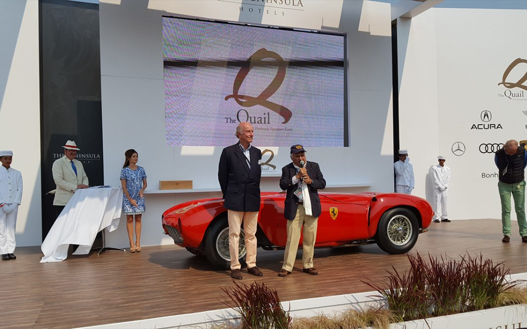 2016.08.19 – On the podium with The Hon. Sir Michael Kadoorie and the very original Ferrari 375 MM Best of Show at The Quail, a Motorsports Gathering
