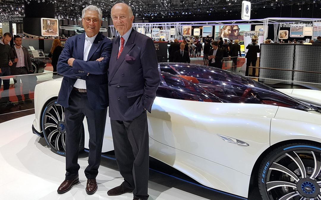 2017.03.08 – At the Salon de l'Auto in Geneva, on the Techrules stand with Giorgetto Giugiaro, crowned 'Designer of the Century' in 2000