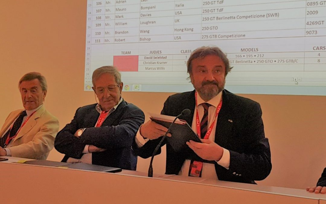 2017.09.09 – Ferrari 70, Leonardo Fioravanti and Mauro Forghieri were both attending the judges briefing chaired by Adolfo Orsi