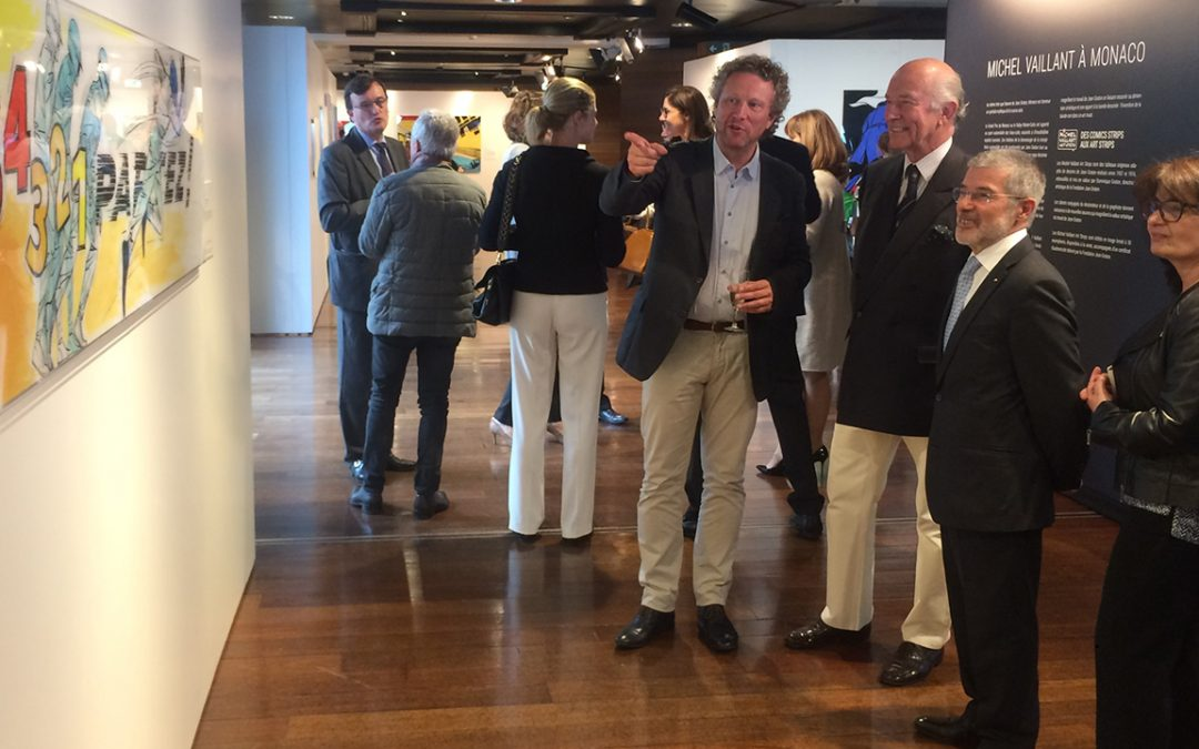 2017.05.04 - Opening of the exhibition 'Michel Vaillant in Monaco' at the Grimaldi Forum in the Principality, with Philippe Graton (President of the Jean Graton Foundation), Patrice Cellario (Government Advisor, Minister of Home Affairs) and his wife