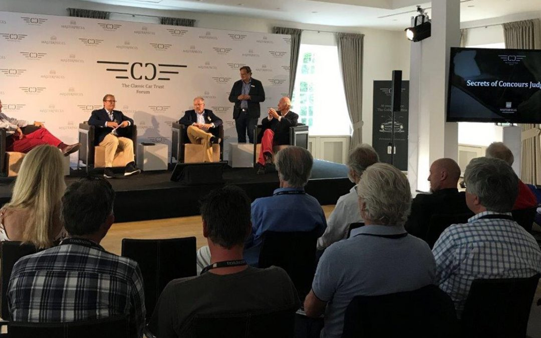 2017.07.08_1 - The Masterpieces concours opened with a conference informing the participants of the judging guidelines. From L to R: Lorenzo Ramaciotti, retired Vice President of Design at Pininfarina and, later, at the Fiat Chrysler Group, Fritz Kaiser, the moderator of the panel, Christian Kramer, president of the jury, Marcus Herfort, organisor of the event, and yours truly
