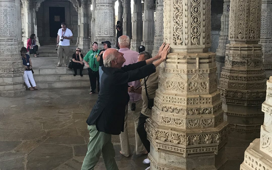 2018.02.25 – Holding the one column in the Ranakpur Temple which is purposely not properly aligned with the 1443 others because it was built by humans and only God could have built something perfect