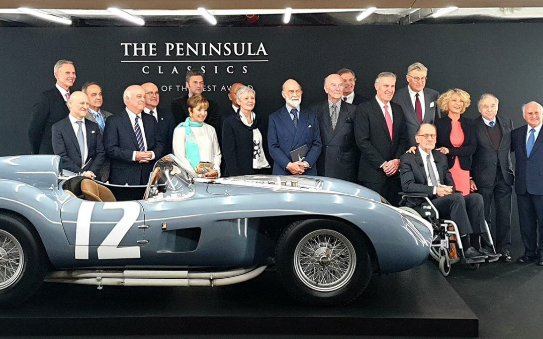 2020.02.06 - This year, the Peninsula Classics Best of the Best Award went to the 1958 Ferrari 335 S bodied by Scaglietti and owned by Andreas Mohringer, surrounded here by some high profile guests including HRH Prince Michael of Kent and FIA's President Jean Todt